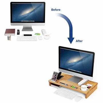 SONGMICS Monitorständer aus Bambus, PC-Ständer, Bildschirmerhöhung, für Computer, Laptop, Schreibtisch-Organizer, 60 x 30,2 x 8,5 cm, Natur LLD201 - 5