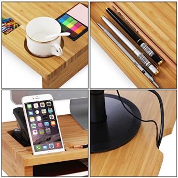 SONGMICS Monitorständer aus Bambus, PC-Ständer, Bildschirmerhöhung, für Computer, Laptop, Schreibtisch-Organizer, 60 x 30,2 x 8,5 cm, Natur LLD201 - 6