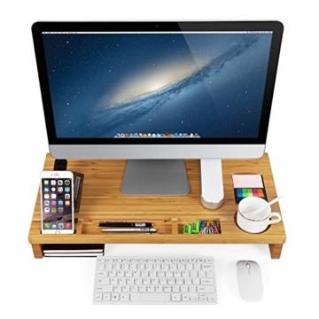 SONGMICS Monitorständer aus Bambus, PC-Ständer, Bildschirmerhöhung, für Computer, Laptop, Schreibtisch-Organizer, 60 x 30,2 x 8,5 cm, Natur LLD201 - 7