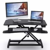 ABOX Sitz-Steh-Schreibtisch, Elektrisch Höhenverstellbarer Schreibtisch Computertisch mit Einem Tastendruck, Sit-Stand Workstation mit Abnehmbarer Tastaturablage, Tischplatte 85 x 51cm, Schwarz - 1
