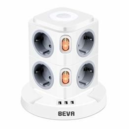 BEVA 8 Fach Mehrfachsteckdose mit 3 USB Steckdosenleiste mit Dimmbarem Nachtlicht Steckdosenturm (2500W/10A) Multi Steckdosen Steckerleiste, Überspannungsschutz (mit 2 Schalter und 2m Kabel) - 1