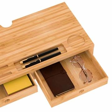 Bildschirmerhöhung Monitorständer Holz Monitor Erhöhung Bildschirmerhöher mit 2 Schubladen Bambus HBT 56x27x12cm (Braun) - 2