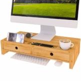 Bildschirmerhöhung Monitorständer Holz Monitor Erhöhung Bildschirmerhöher mit 2 Schubladen Bambus HBT 56x27x12cm (Braun) - 1