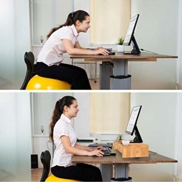 Bildschirmerhöhung Monitorständer Holz Monitor Erhöhung Bildschirmerhöher mit 2 Schubladen Bambus HBT 56x27x12cm (Braun) - 3