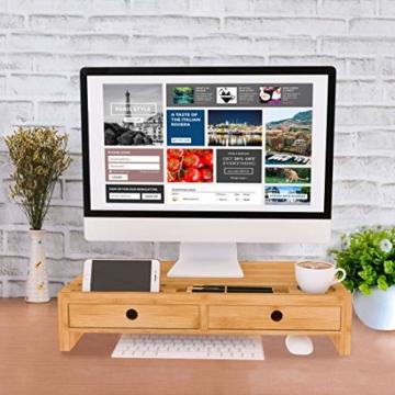 Bildschirmerhöhung Monitorständer Holz Monitor Erhöhung Bildschirmerhöher mit 2 Schubladen Bambus HBT 56x27x12cm (Braun) - 4