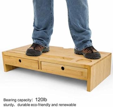 Bildschirmerhöhung Monitorständer Holz Monitor Erhöhung Bildschirmerhöher mit 2 Schubladen Bambus HBT 56x27x12cm (Braun) - 6