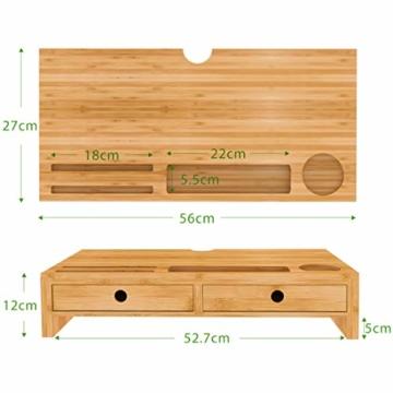Bildschirmerhöhung Monitorständer Holz Monitor Erhöhung Bildschirmerhöher mit 2 Schubladen Bambus HBT 56x27x12cm (Braun) - 7
