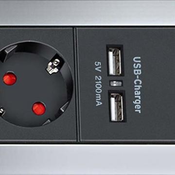 Brennenstuhl Alu-Office-Line Steckdosenleiste 4-fach mit Schalter (Steckerleiste ideal für den Schreibtisch, 1,8m Kabel, 2-fach USB 3,1 A, Made in Germany) silber/schwarz - 2