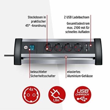 Brennenstuhl Alu-Office-Line Steckdosenleiste 4-fach mit Schalter (Steckerleiste ideal für den Schreibtisch, 1,8m Kabel, 2-fach USB 3,1 A, Made in Germany) silber/schwarz - 3