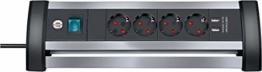 Brennenstuhl Alu-Office-Line Steckdosenleiste 4-fach mit Schalter (Steckerleiste ideal für den Schreibtisch, 1,8m Kabel, 2-fach USB 3,1 A, Made in Germany) silber/schwarz - 1
