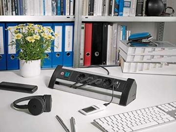 Brennenstuhl Alu-Office-Line Steckdosenleiste 4-fach mit Schalter (Steckerleiste ideal für den Schreibtisch, 1,8m Kabel, 2-fach USB 3,1 A, Made in Germany) silber/schwarz - 4
