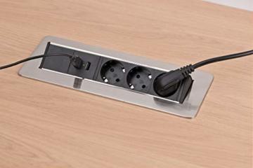 Brennenstuhl Indesk Power USB-Charger Tischsteckdosenleiste / Versenkbare Steckdose 3-fach (2 USB Ladebuchsen, 2m Kabel) silber/schwarz - 3