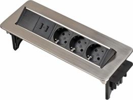 Brennenstuhl Indesk Power USB-Charger Tischsteckdosenleiste / Versenkbare Steckdose 3-fach (2 USB Ladebuchsen, 2m Kabel) silber/schwarz - 1