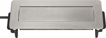 Brennenstuhl Indesk Power USB-Charger Tischsteckdosenleiste / Versenkbare Steckdose 3-fach (2 USB Ladebuchsen, 2m Kabel) silber/schwarz - 4