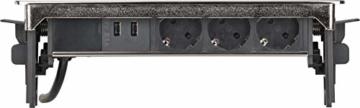 Brennenstuhl Indesk Power USB-Charger Tischsteckdosenleiste / Versenkbare Steckdose 3-fach (2 USB Ladebuchsen, 2m Kabel) silber/schwarz - 6