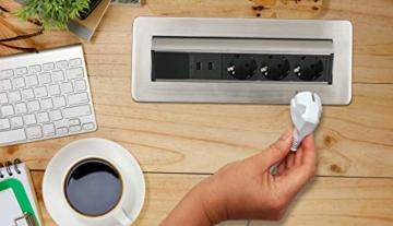 Brennenstuhl Indesk Power USB-Charger Tischsteckdosenleiste / Versenkbare Steckdose 3-fach (2 USB Ladebuchsen, 2m Kabel) silber/schwarz - 10