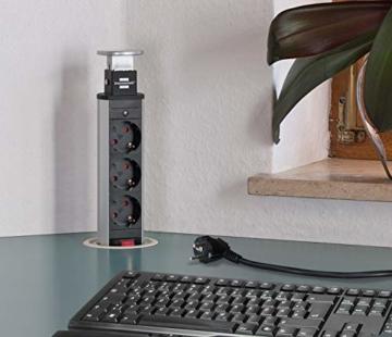Brennenstuhl Tower Power, Tischsteckdosenleiste 3-fach (versenkbare Steckdosenleiste, 2m Kabel, komplett in Tischplatte versenkbar) alu / schwarz - 2