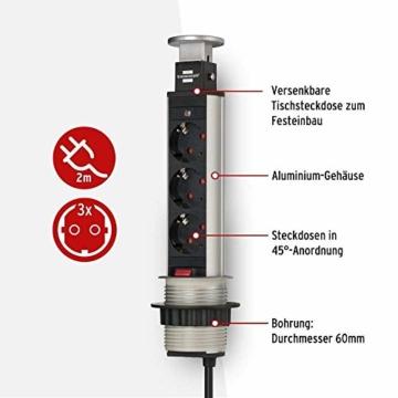 Brennenstuhl Tower Power, Tischsteckdosenleiste 3-fach (versenkbare Steckdosenleiste, 2m Kabel, komplett in Tischplatte versenkbar) alu / schwarz - 3