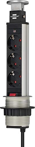 Brennenstuhl Tower Power, Tischsteckdosenleiste 3-fach (versenkbare Steckdosenleiste, 2m Kabel, komplett in Tischplatte versenkbar) alu / schwarz - 1