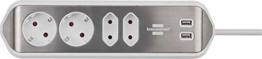 brennenstuhl®estilo Ecksteckdosenleiste 4-fach (Tischsteckdose mit Edelstahloberfläche für Küche und Büro, Ecksteckdose mit 2x Schuko-Steckdosen, 2x Euro-Steckdosen, inkl. USB-Ladefunktion) siber/weiß - 1
