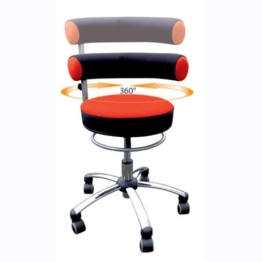 Bungarten Sanus Gesundheitsstuhl mit höhenverstellbarer Lehne, Sitzhöhe Standard (42-51 cm), Stoffbezug, rot/schwarz - 1