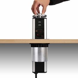 Dazone versenkbar Tischsteckdose 3-fach (Steckdosen-Turm, 2-fach USB, 2m Kabel, komplett in Tischplatte), USB Tischsteckdosenleiste Mehrfachsteckdose Einbausteckdose für Arbeitsplatte küche Chromfarbe - 1