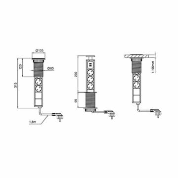 Dazone versenkbar Tischsteckdose 3-fach (Steckdosen-Turm, 2-fach USB, 2m Kabel, komplett in Tischplatte), USB Tischsteckdosenleiste Mehrfachsteckdose Einbausteckdose für Arbeitsplatte küche Chromfarbe - 4