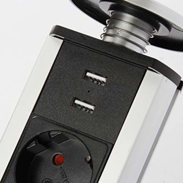 Dazone versenkbar Tischsteckdose 3-fach (Steckdosen-Turm, 2-fach USB, 2m Kabel, komplett in Tischplatte), USB Tischsteckdosenleiste Mehrfachsteckdose Einbausteckdose für Arbeitsplatte küche Chromfarbe - 8