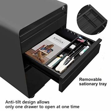 Dripex Metall Rollcontainer Stahl Rollcontainer mit 3 Schubladen und Hängeregistratur Abschließbarer Büroschrank Bürocontainer 5 Räder Aktenschrank 40 x 50 x 62 cm - 2