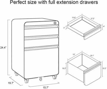 Dripex Metall Rollcontainer Stahl Rollcontainer mit 3 Schubladen und Hängeregistratur Abschließbarer Büroschrank Bürocontainer 5 Räder Aktenschrank 40 x 50 x 62 cm - 4