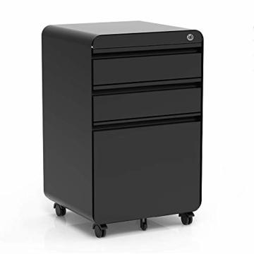 Dripex Metall Rollcontainer Stahl Rollcontainer mit 3 Schubladen und Hängeregistratur Abschließbarer Büroschrank Bürocontainer 5 Räder Aktenschrank 40 x 50 x 62 cm - 1