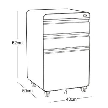 Dripex Metall Rollcontainer Stahl Rollcontainer mit 3 Schubladen und Hängeregistratur Abschließbarer Büroschrank Bürocontainer 5 Räder Aktenschrank 40 x 50 x 62 cm - 5