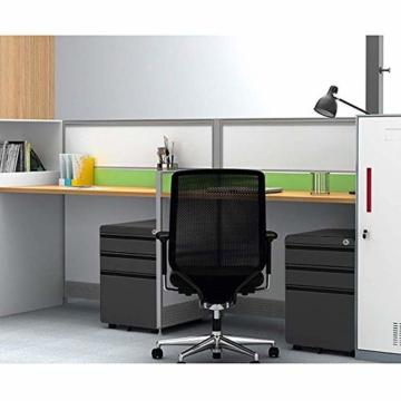 Dripex Metall Rollcontainer Stahl Rollcontainer mit 3 Schubladen und Hängeregistratur Abschließbarer Büroschrank Bürocontainer 5 Räder Aktenschrank 40 x 50 x 62 cm - 8