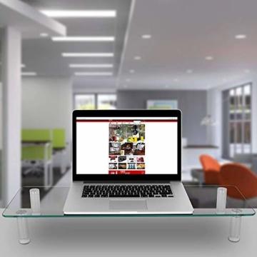 Duronic DM052-3 Bildschirmständer/Monitorständer/Notebookständer/TV Ständer/Bildschirmerhöhung/Laptop   Glas   transparent  70cm x 24cm   20kg Kapazität - 2