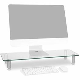 Duronic DM052-3 Bildschirmständer/Monitorständer/Notebookständer/TV Ständer/Bildschirmerhöhung/Laptop | Glas | transparent |70cm x 24cm | 20kg Kapazität - 1