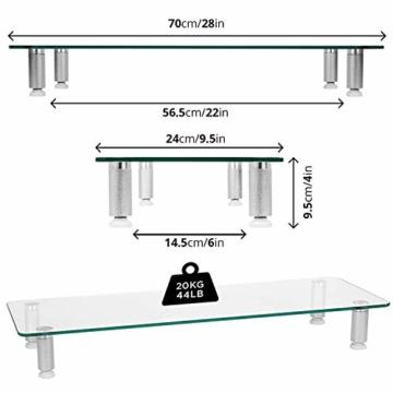Duronic DM052-3 Bildschirmständer/Monitorständer/Notebookständer/TV Ständer/Bildschirmerhöhung/Laptop   Glas   transparent  70cm x 24cm   20kg Kapazität - 4