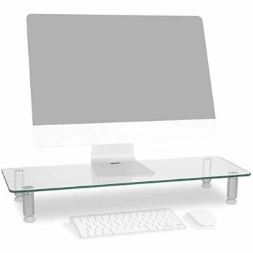 Duronic DM052-3 Bildschirmständer/Monitorständer/Notebookständer/TV Ständer/Bildschirmerhöhung/Laptop   Glas   transparent  70cm x 24cm   20kg Kapazität - 1
