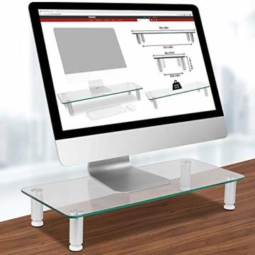 Duronic DM052-3 Bildschirmständer/Monitorständer/Notebookständer/TV Ständer/Bildschirmerhöhung/Laptop   Glas   transparent  70cm x 24cm   20kg Kapazität - 5