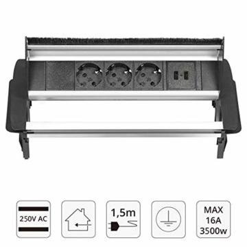 Elbe versenkbare Tischsteckdose mit 2xUSB, Steckdosenleiste mit USB Buchse, Einbausteckdose aus Alulegierung, Mehrfachsteckdose, Kindersicherung, 1,5m Kabel, für Büro, Werkstatt, Küche - 2