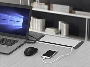 Elbe versenkbare Tischsteckdose mit 2xUSB, Steckdosenleiste mit USB Buchse, Einbausteckdose aus Alulegierung, Mehrfachsteckdose, Kindersicherung, 1,5m Kabel, für Büro, Werkstatt, Küche - 3