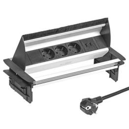 Elbe versenkbare Tischsteckdose mit 2xUSB, Steckdosenleiste mit USB Buchse, Einbausteckdose aus Alulegierung, Mehrfachsteckdose, Kindersicherung, 1,5m Kabel, für Büro, Werkstatt, Küche - 1