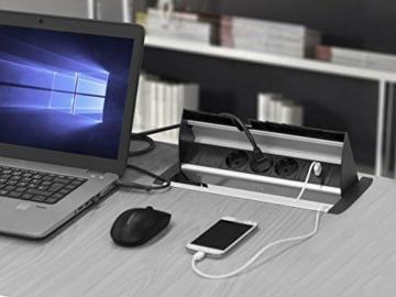 Elbe versenkbare Tischsteckdose mit 2xUSB, Steckdosenleiste mit USB Buchse, Einbausteckdose aus Alulegierung, Mehrfachsteckdose, Kindersicherung, 1,5m Kabel, für Büro, Werkstatt, Küche - 6
