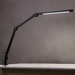 Eyocean LED Schreibtischlampe,Schwenkarm Architektenlampe Arbeitsleuchte,Berührungssteuerung Büro Tischlampe, Stufenloses Dimmen einstellbare Farbtemperaturen,Augenschutz,10W Klemmleuchte,Mattschwarz - 1