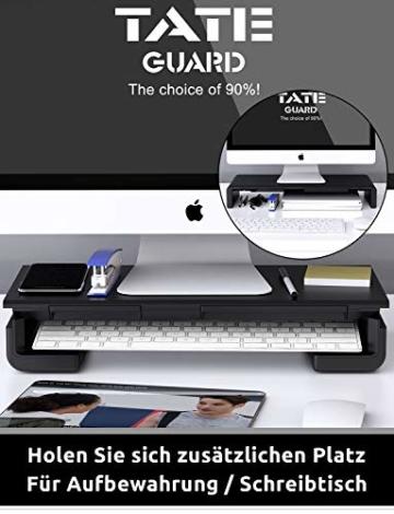 Faltbarer Monitorständer Riser TATEGUARD Computer Monitorständer mit Verstellbarer Breite kompatibel mit i'Mac Drucker Laptop mit Aufbewahrungsschublade Tablet & Handyständer Halter Schwarz - 3