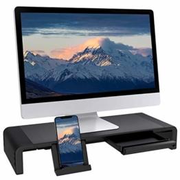 Faltbarer Monitorständer Riser TATEGUARD Computer Monitorständer mit Verstellbarer Breite kompatibel mit i'Mac Drucker Laptop mit Aufbewahrungsschublade Tablet & Handyständer Halter Schwarz - 1