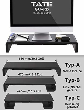 Faltbarer Monitorständer Riser TATEGUARD Computer Monitorständer mit Verstellbarer Breite kompatibel mit i'Mac Drucker Laptop mit Aufbewahrungsschublade Tablet & Handyständer Halter Schwarz - 4