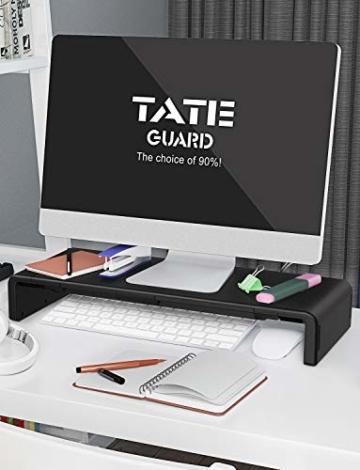 Faltbarer Monitorständer Riser TATEGUARD Computer Monitorständer mit Verstellbarer Breite kompatibel mit i'Mac Drucker Laptop mit Aufbewahrungsschublade Tablet & Handyständer Halter Schwarz - 5