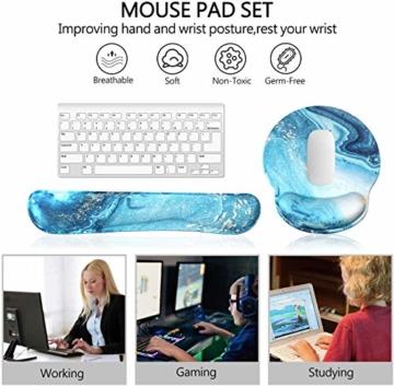 Haocoo Mauspad und Tastatur Handgelenkstütze Set Ergonomische, Gedächtnis-Schaum-Nicht Beleg, langlebig u. Bequem, entlastet den Handgelenk-Druck der Tastatur und der Maus (Türkisfarbener Marmor) - 6