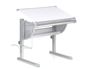 hjh OFFICE Kinderschreibtisch Belia höhenverstellbar + neigbar Weiss/Silber - 1