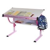 IDIMEX Kinderschreibtisch Schülerschreibtisch Carina in rosa pink, Schreibtisch höhenverstellbar und neigungsverstellbar - 1